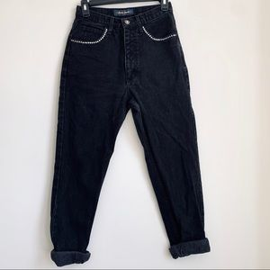 Guess Vintage Black High Waisted Rhinestone Jeans